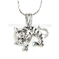 Silver plated Tiger locket necklace pendant 5pcs