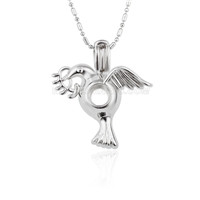 Silver plated Flying bird locket necklace pendant 5pcs