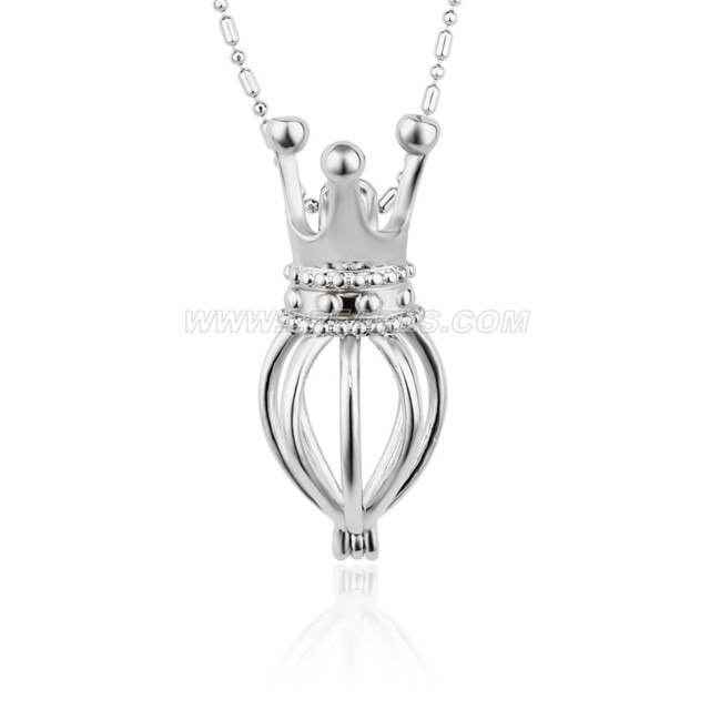 5pcs silver plated crown cage pendant