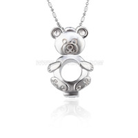Silver plated Bear locket necklace pendant 5pcs