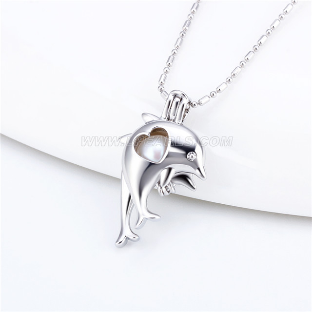 wholesale silver plated double dolphin locket necklace pendant