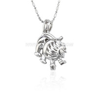 Low price silver plated Leo cage pendant 5pcs