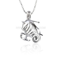 Silver plated Capricorn cage necklace pendant 5pcs