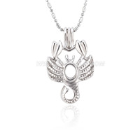 Silver plated scorpio cage necklace pendant 5pcs