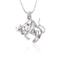 Silver plated Taurus locket necklace pendant 5pcs