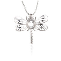 Silver plated Dragonfly locket necklace pendant 5pcs
