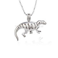 5pcs Silver plated lizard locket necklace pendant