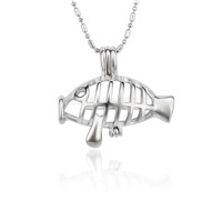 5pcs Silver plated Fish locket necklace pendant