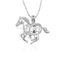 Silver plated Horse cage necklace pendant 5pcs