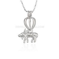 Latest silver plated goat locket necklace pendant 5pcs