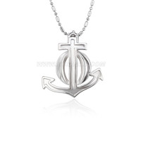 5pcs Silver plated Anchor cage necklace pendant