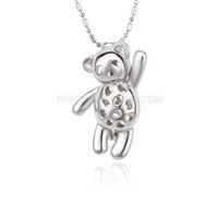 5pcs Silver plated Bear cage necklace pendant