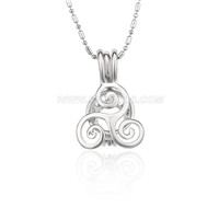 Silver plated sea wave locket necklace pendant 5pcs