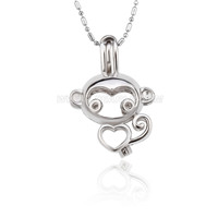 5pcs Silver plated Monkey locket necklace pendant