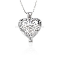 Silver plated Heart locket necklace pendant 5pcs