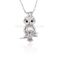 Silver plated owl locket necklace pendant 5pcs