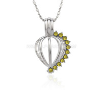 New style Silver plated heart with Yellow zircon cage pendant 5p