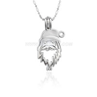 Christmas design Silver plated Santa Claus cage pendant 5pcs