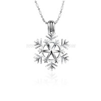 Christmas design Silver plated Snowflake cage pendant 5pcs