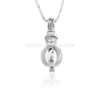 Christmas design Silver plated Snowman cage pendant 5pcs