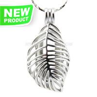 Latest design Silver plated Leave cage pendant 5pcs