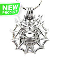 Latest design Silver plated Spider cage pendant 5pcs