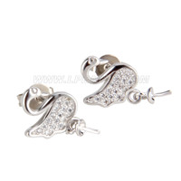 Latest wholesale silver plated Swan design earring fitting