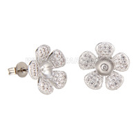 Latest wholesale silver plated Flower design earring fitting