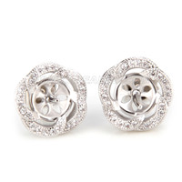 Latest wholesale silver plated Round flower design earring fitti