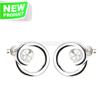 Latest silver plated round shape design earring fitting