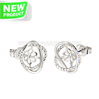 New silver plated Flower design earring fitting