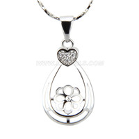 silver plated waterdrop design pearl pendant necklace mounting