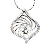 silver plated Shell pearl pendant necklace mounting
