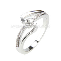 wholesale silver plated pearl rings with zircons fitting