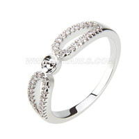 Fashion wholesale silver plated pearl rings with zircons fitting
