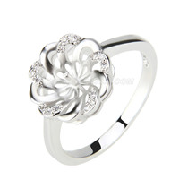 Fashion wholesale silver plated Flower pearl rings with zircons