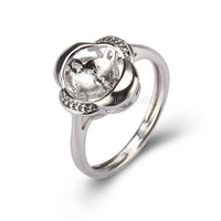 Silver plated CZ flower pearl ring setting for women