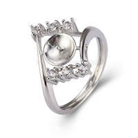 Silver plated CZ pearl ring mounting for women