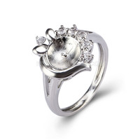 Silver plated CZ bloom pearl ring mounting for women