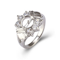 Silver plated white CZ pearl ring setting for women