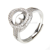 wholesale silver plated round shape adjustable pearl ring fittin