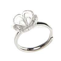 wholesale silver plated flower adjustable pearl ring fitting wit