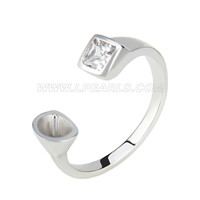 Latest wholesale silver plated adjustable pearl ring mounting