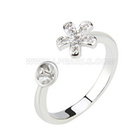 wholesale silver plated adjustable flower shape pearl ring mount