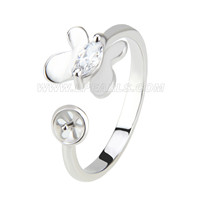 wholesale silver plated adjustable butterfly pearl ring mounting