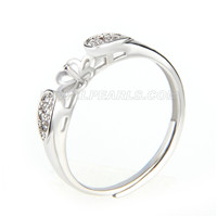 Newest wholesale silver plated adjustable pearl ring fitting