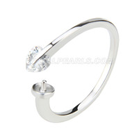 Newest wholesale silver plated adjustable pearl ring accessary