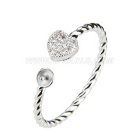 Beautiful wholesale silver plated adjustable pearl ring fitting
