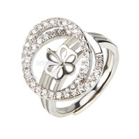wholesale silver plated adjustable pearl ring fitting with zirco