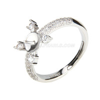 wholesale silver plated simple design adjustable pearl ring fitt